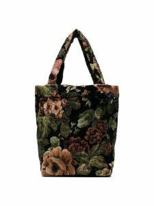 Simone Rocha black small floral print tapestry tote bag