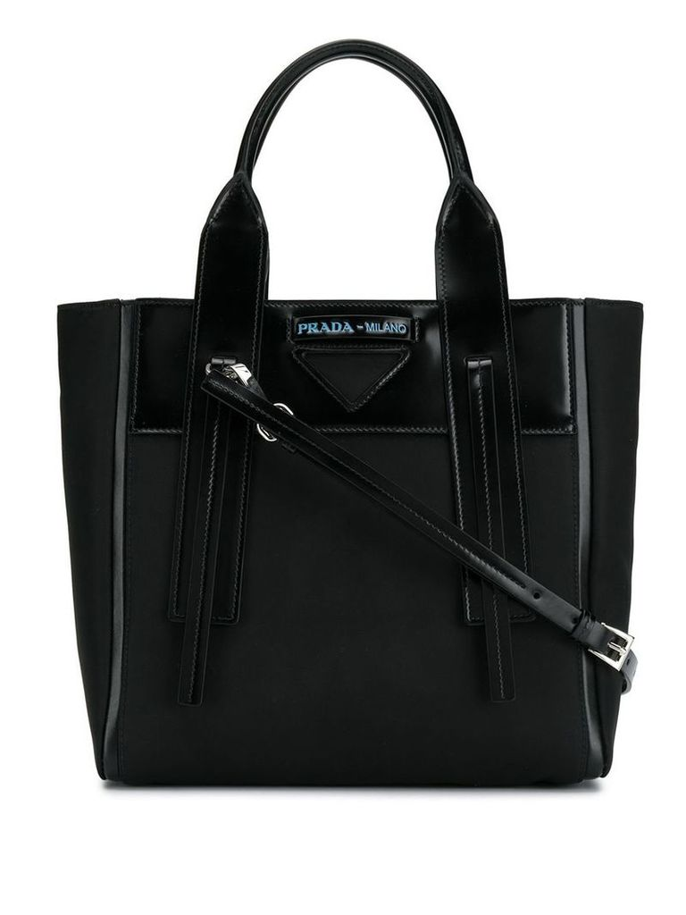 Prada logo patch tote - Black