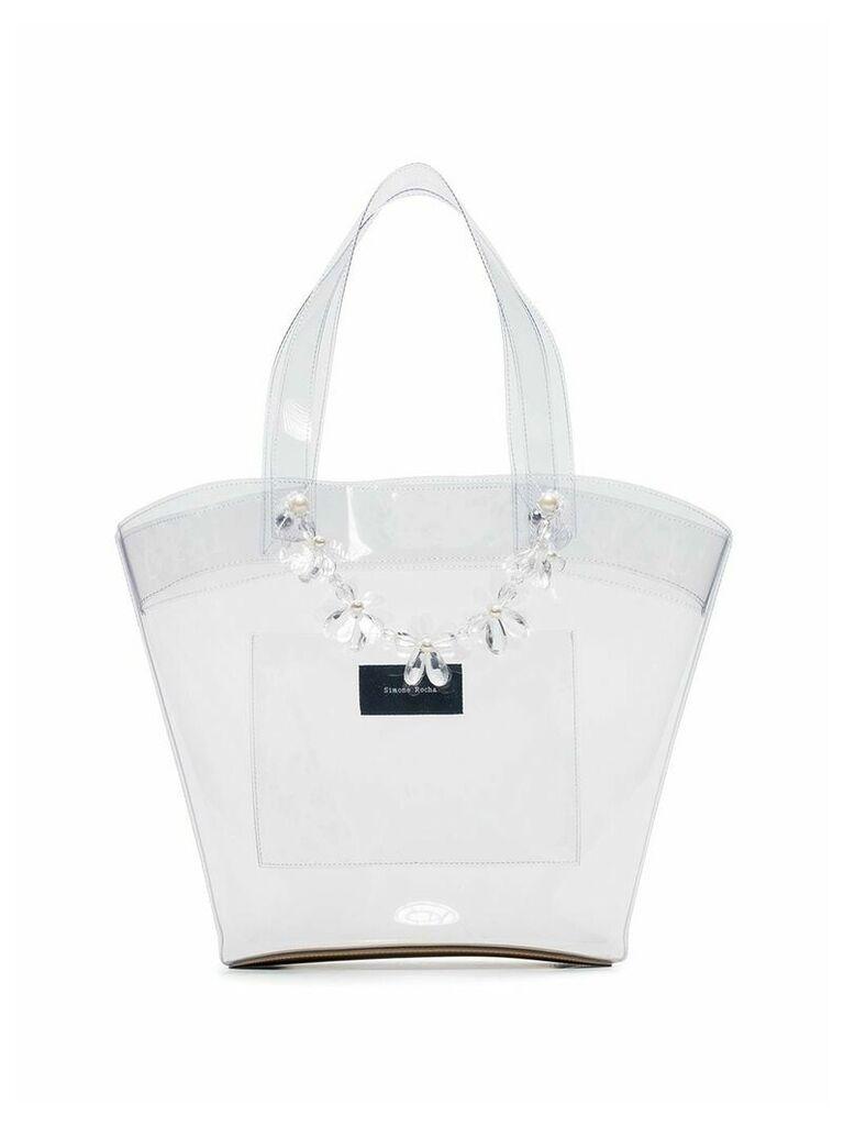 Simone Rocha transparent beaded PVC tote bag - Neutrals