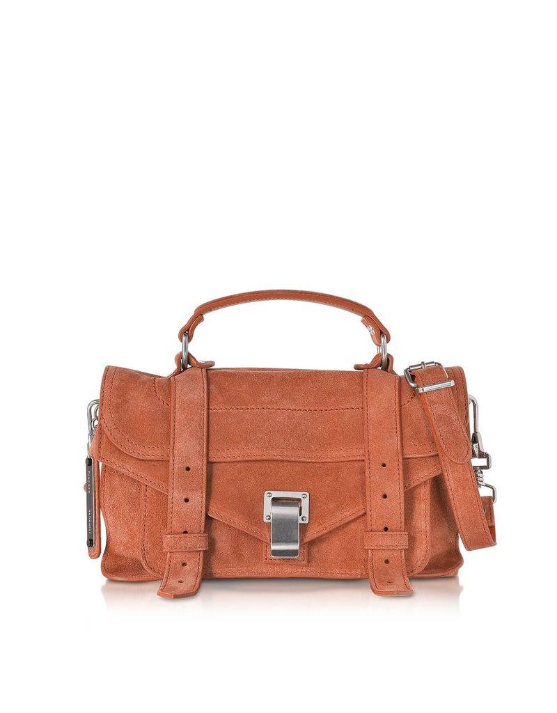 Proenza Schouler Designer Handbags, PS1 Tiny Fawn Suede Satchel Bag