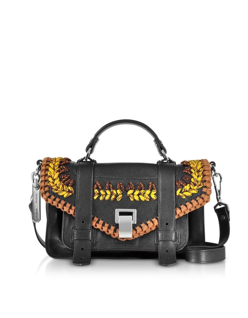 Proenza Schouler Designer Handbags, Ps1+ Tiny-Lux Leather Satchel Bag w/Crochet