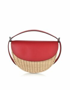 Rodo Designer Handbags, Woven Wicker and Leather Half-Moon Shoulder Bag