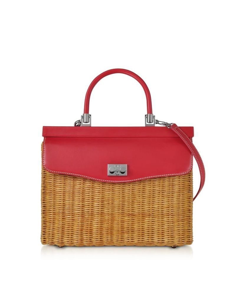 Rodo Designer Handbags, Natural Wicker and Leather Top-Handle Bag