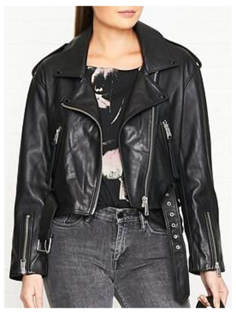 Allsaints Anderson Leather Biker Jacket - Black