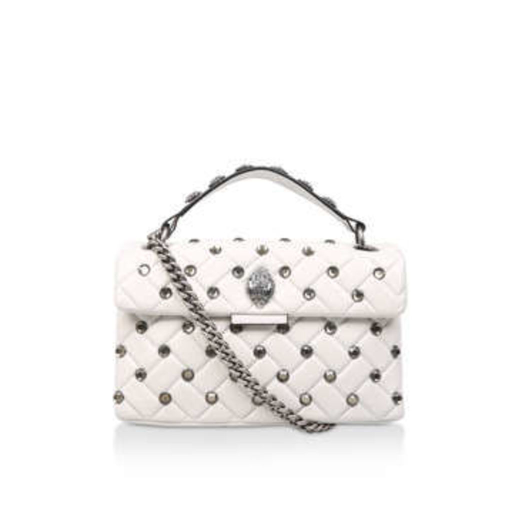 Kurt Geiger London Leather Kensington X Bag - White Studded Shoulder Bag