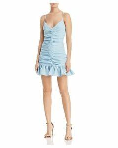The East Order Celine Ruched Ruffled Mini Dress