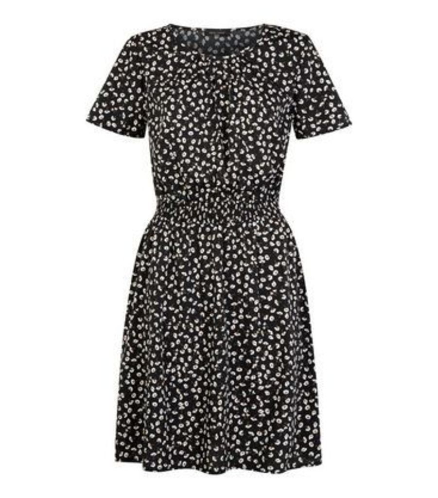 Tall Black Ditsy Floral Stretch Waist Dress New Look