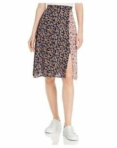 Band of Gypsies New Orleans Color-Blocked Floral-Print Skirt