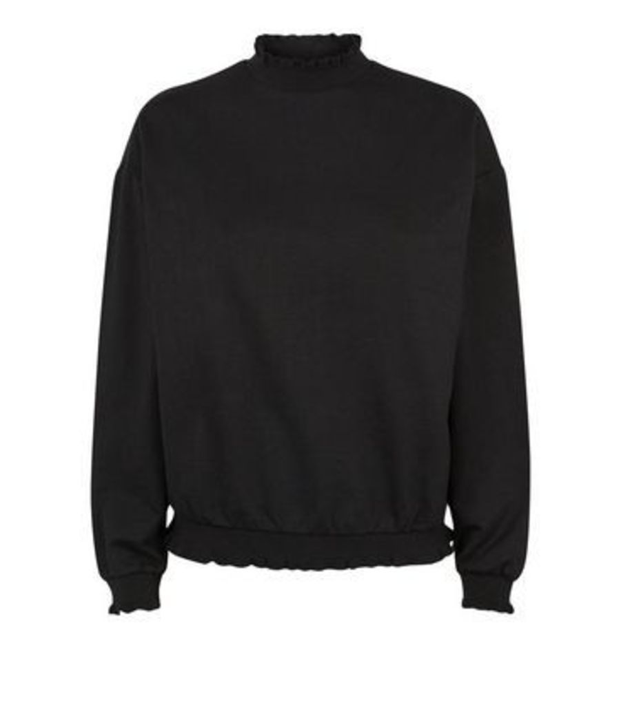Black Frill High Neck Jumper New Look