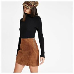 Womens Brown suede A line skirt