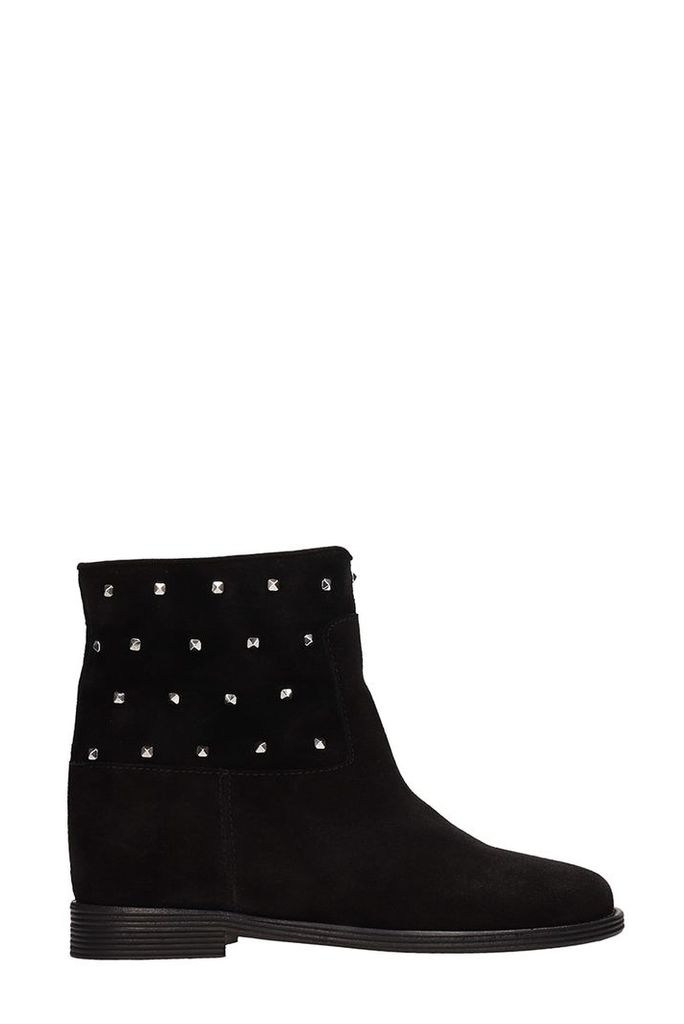 Via Roma 15 Black Suede Ankle Boots