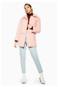 Womens Borg Coat - Rose, Rose
