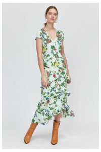 Womens Warehouse Green Ruffle Floral Midi Dress -  Green