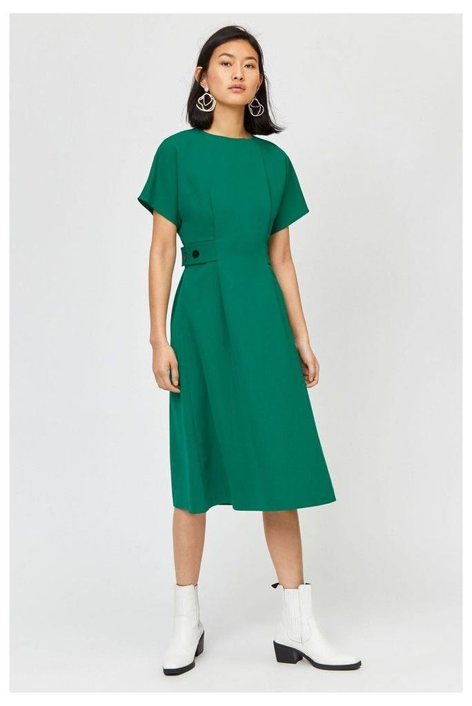 Womens Warehouse Green Button Side Tab Midi Dress -  Green