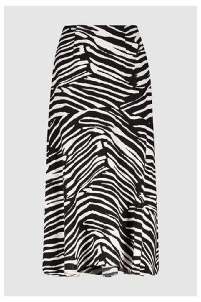 Womens Whistles Zebra Print Skirt -  Black
