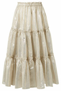 Lisa Marie Fernandez - Tiered Cotton-blend Lamé Midi Skirt - Gold