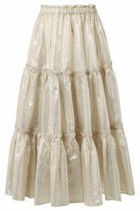 Lisa Marie Fernandez - Tiered Cotton-blend Lamé Midi Skirt - Gold