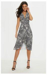 Grey Leopard Print Twist Front Drape Detail Midi Dress, Grey