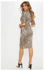 Tiger Print Ruched Front Midi Dress, White