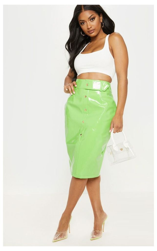 Shape Neon Lime PU Button Front Midi Skirt, Neon Lime
