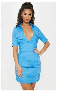 Bright Blue Short Sleeve Ruched Detail Shirt Dress, Bright Blue