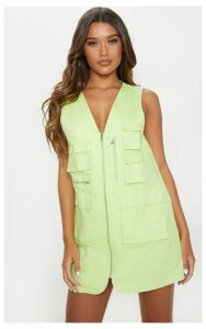 Lime Neon Cargo Zip Front Pocket Shift Dress, Green