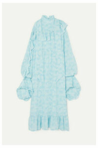 Rokh - Ruffled Printed Silk Crepe De Chine Midi Dress - Sky blue