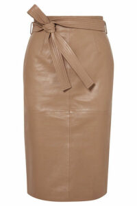 Equipment - Alouetta Belted Leather Skirt - Tan