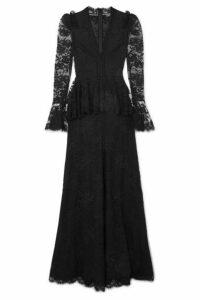 Alexander McQueen - Cotton-blend Lace Peplum Gown - Black