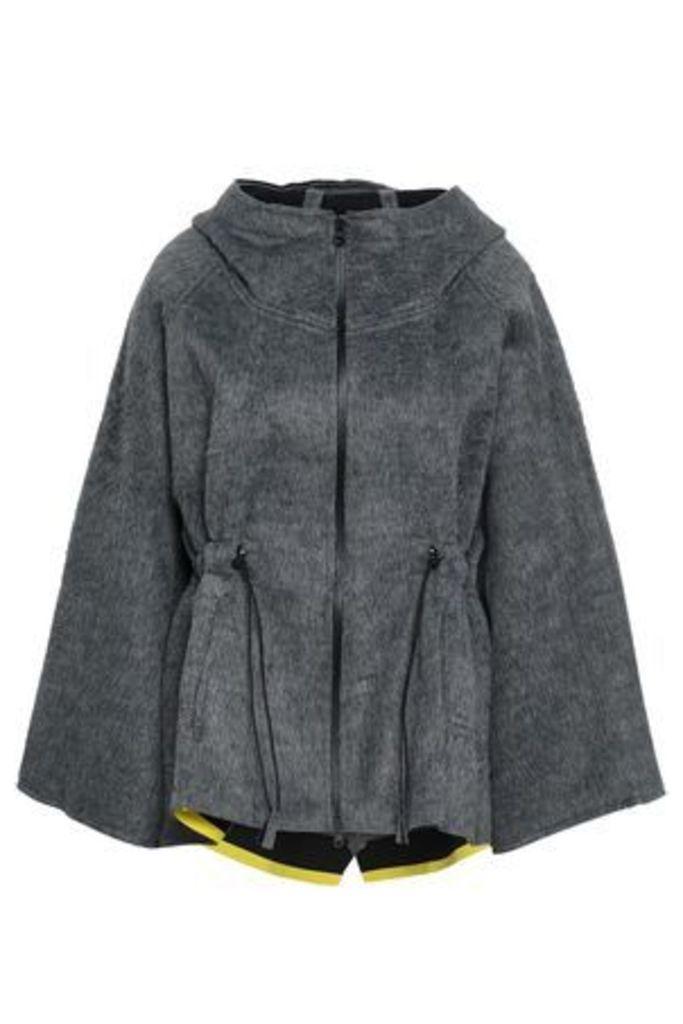 Sàpopa Woman Gathered Fleece Hooded Jacket Anthracite Size L