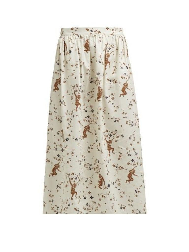 Edward Crutchley - Monkey Print Cotton Poplin Skirt - Womens - Cream