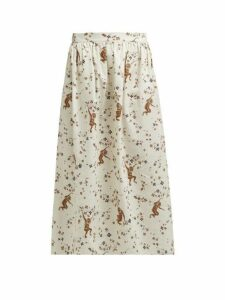 Edward Crutchley - Monkey-print Cotton-poplin Skirt - Womens - Cream