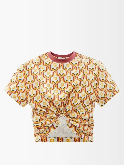 Edward Crutchley - Tapestry Print High Rise Silk Midi Skirt - Womens - Brown Multi