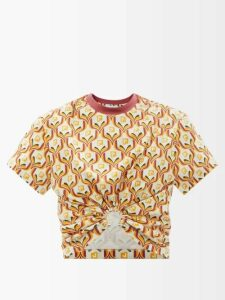 Edward Crutchley - Tapestry Print High Rise Silk Midi Skirt - Womens - Brown Multi