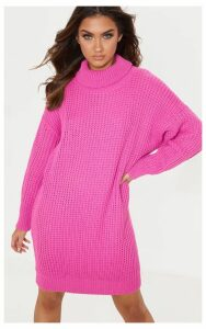 Hot Pink Oversized High Neck Knitted Jumper Dress, Hot Pink