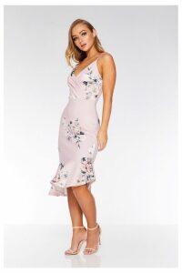 Womens Quiz Floral Wrap Asymmetrical Hem Midi Dress -  Black
