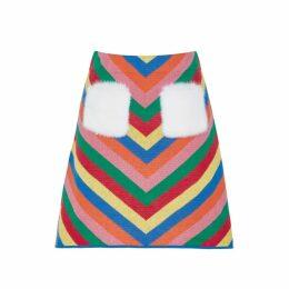 Izaak Azanei Rainbow Fur-trimmed Cotton Skirt