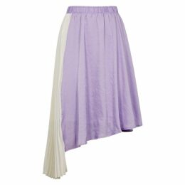 Clu Lilac Asymmetric Satin Midi Skirt