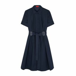 HUGO Navy Brushed Cotton Shirt Dress