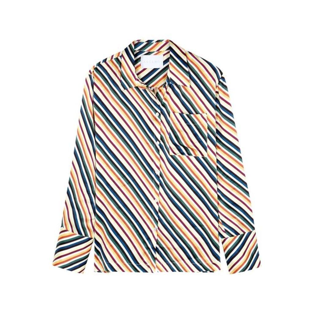 ASCENO Striped Silk Shirt