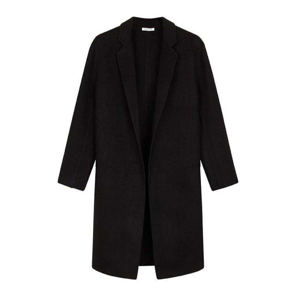 NICOLE FARHI Black Charlie Edge To Edge Wool & Cashmere Coat