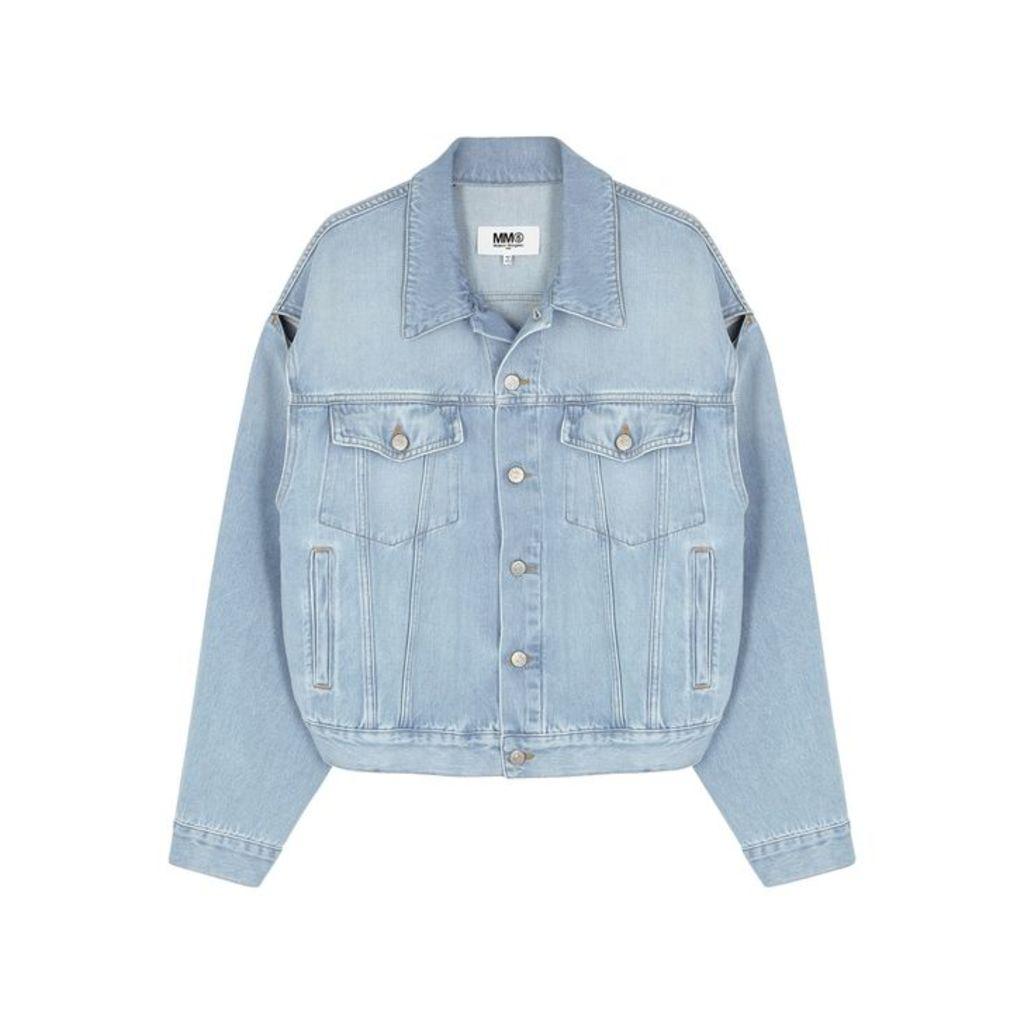 MM6 By Maison Margiela Light Blue Cut-out Denim Jacket