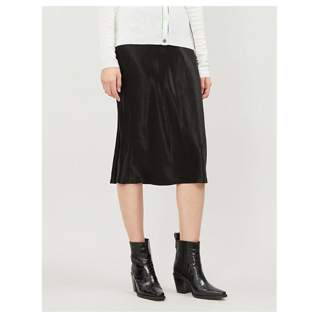 Flared high-rise crushed satin midi skirt