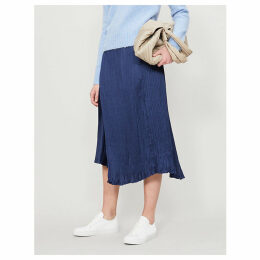 Fold-over pleated satin skirt