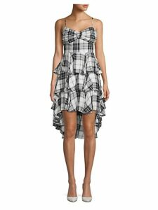 Plaid Tiered Fit-&-Flare Dress