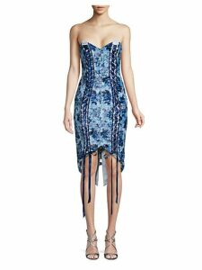 Floral Lace-Up Sheath Dress
