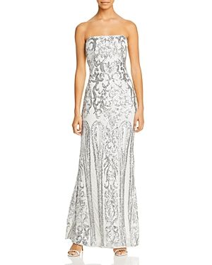 Aqua Strapless Sequined Gown - 100% Exclusive