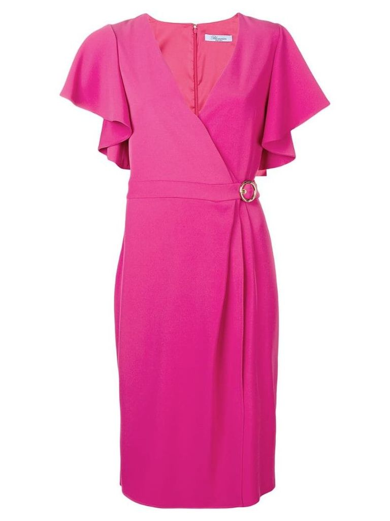 Blumarine ruffled sleeves wrap dress - Pink