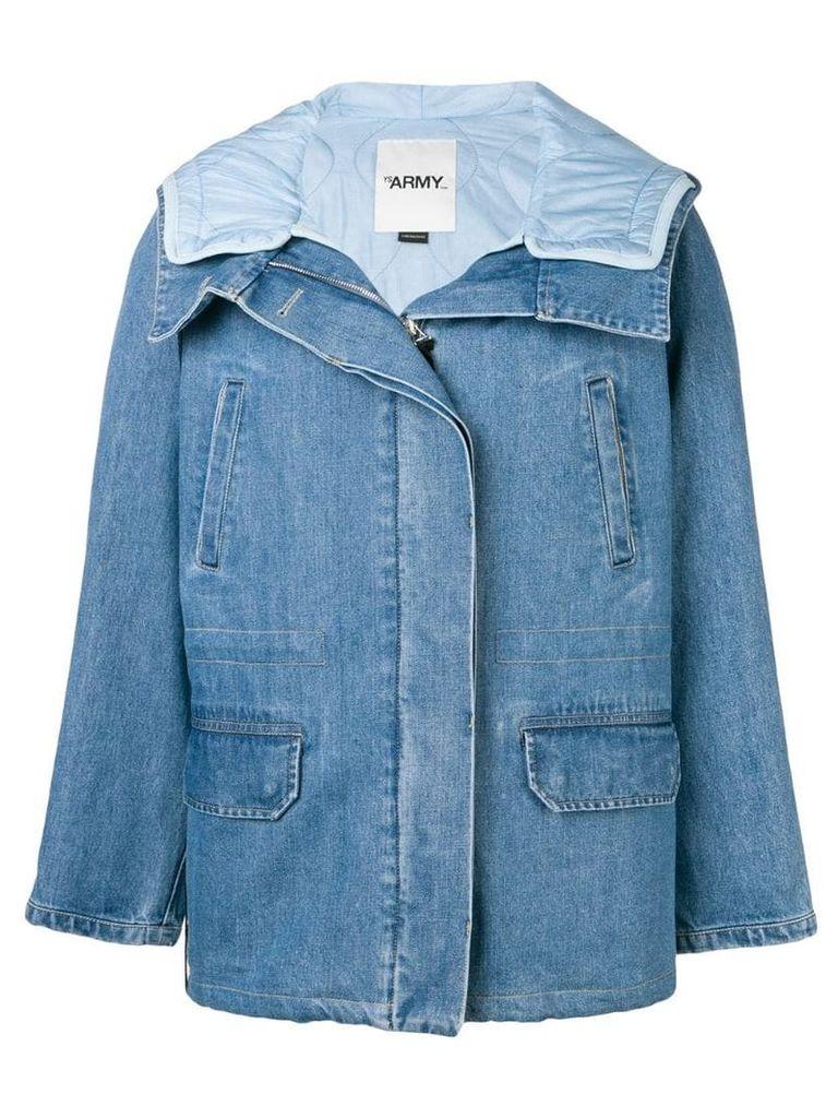 Yves Salomon denim padded coat - Blue
