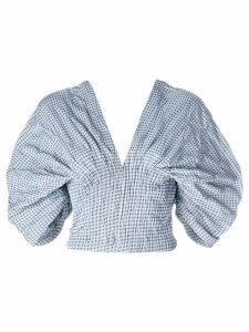 Jonathan Simkhai Smocked Gingham Dropped Sleeve Bustier top - Blue